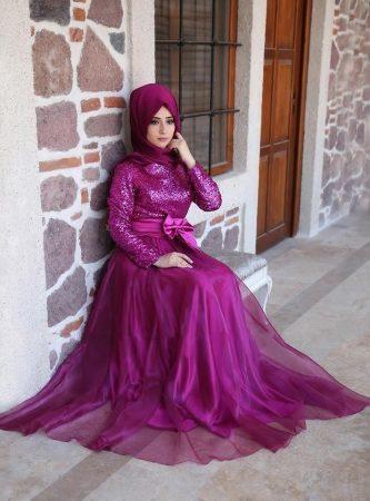 صورة فساتين سواريه 2019 للمحجبات , اشكال والوان الفساتين 2387 3
