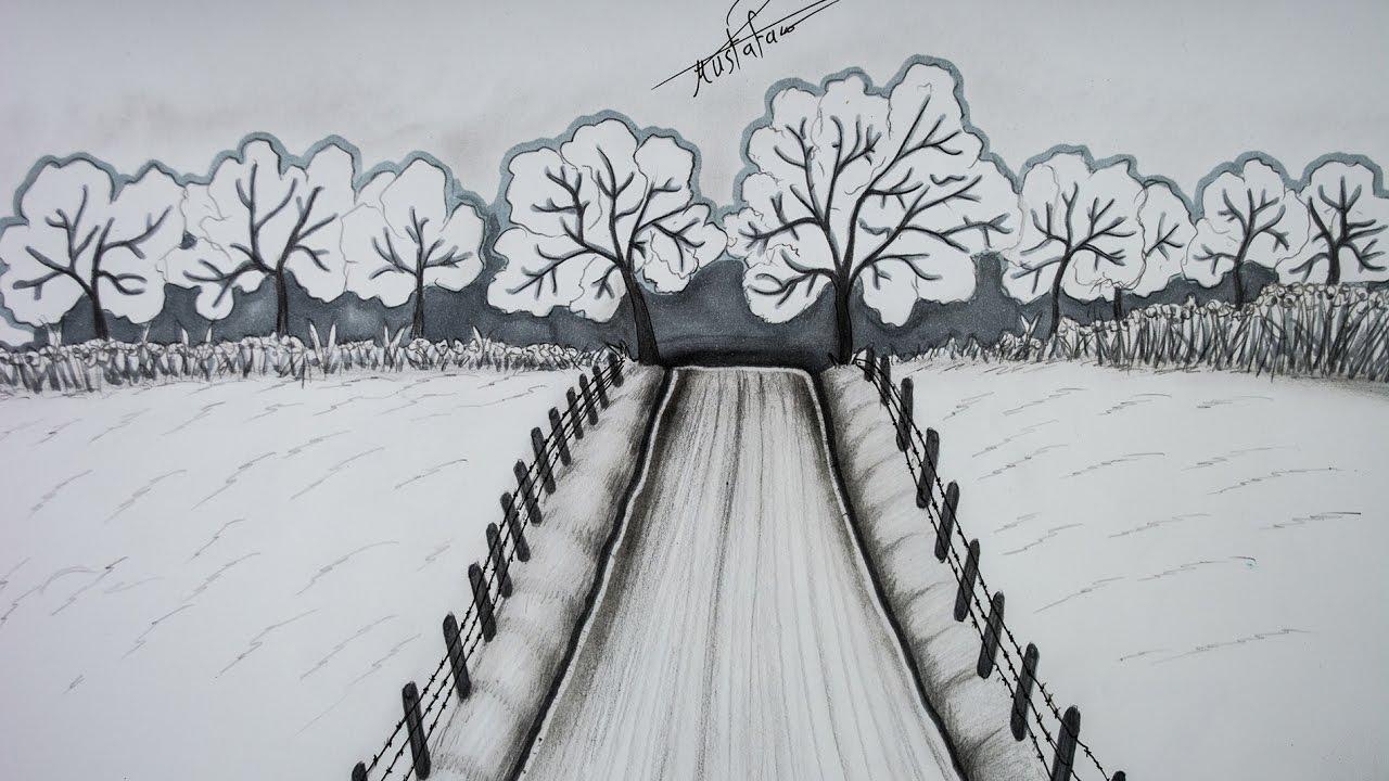 صورة رسم منظر طبيعي باليد , اجمل رسم منظر طبيعي باليد