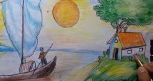 صوره رسم منظر طبيعي سهل للاطفال , احلى الرسومات للاطفال