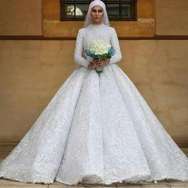 صور فساتين اعراس للمحجبات , احلي فستان لكل عروسة محتشمة