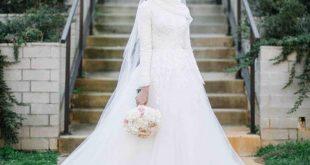 صورة فساتين اعراس للمحجبات , احلي فستان لكل عروسة محتشمة