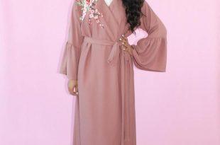 صورة عبايات خليجية ملونة , لباس عبايات خليجي ملون في غاية الجمال